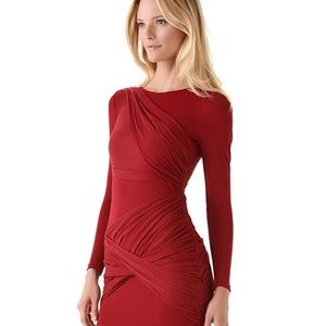 Alice and Olivia Long Sleeve Goddess Dress in Red